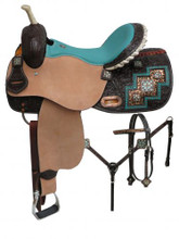 Double T Barrel Racing Saddle Set 6758 Leopard Print- Western Saddles Headstall & Breast Collar