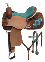 Double T Barrel Racing Saddle Set 6760 - Western Saddles Headstall & Breast Collar