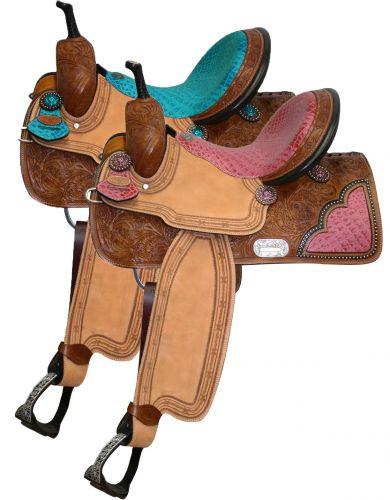 Double T Barrel Style Saddle with Pink or Teal Alligator Print Seat 6538