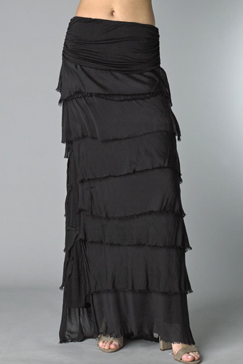 Tempo Paris Silk Maxi Skirt k221fn Black
