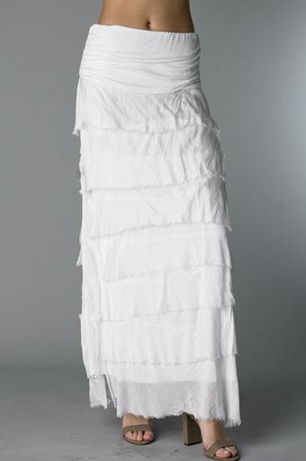 Tempo Paris Silk Maxi Skirt k221fn White