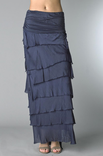 Tempo Paris Silk Maxi Skirt k221fn Navy