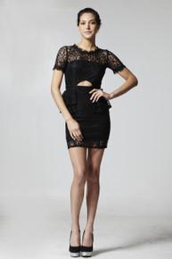 Flirt Selection Lace Mini Dress Black