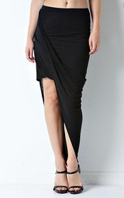 Flirt Selection Side Drape Asymmetrical Skirt Black