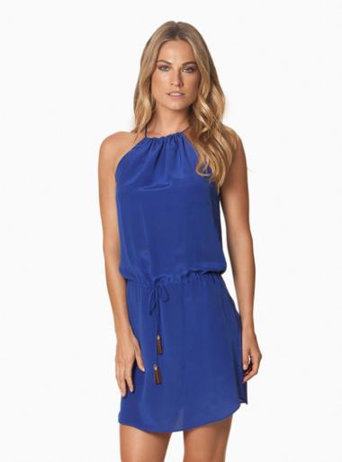 Vix Swimwear Gilda Silk Dress Royal Blue