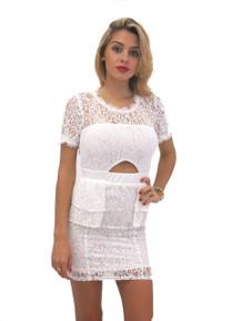 Flirt Selection Lace Mini Dress White