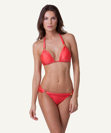 Vix Swimwear Solid Coral Red Bia Tube Bikini Set