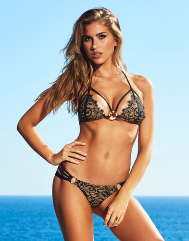 Beach Bunny Swimwear Gunpowder and Lace Bikini Set Black
