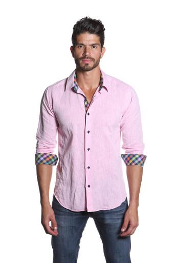 Jared Lang Button Down Linen Shirt Van 1155 Pink