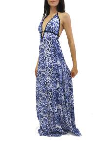 Donatella Corinne Maxi Dress Purple Animal Print