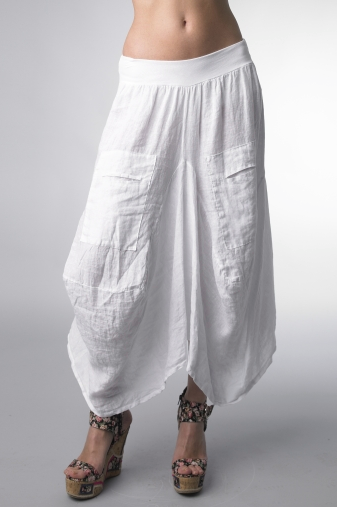 Tempo Paris Wide Waistband Linen Skirt White