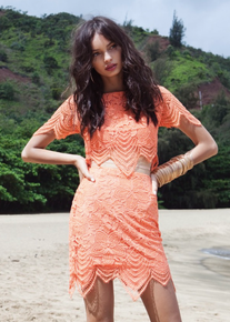 For Love and Lemons Luma Lace Crop Top Tropical Orange