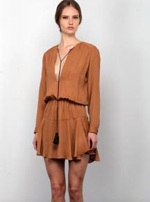 Karina Grimaldi Pilar Solid Mini Dress Camel