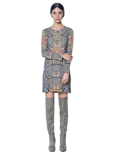 Mara Hoffman Ponte Shift Dress Print SB Nude