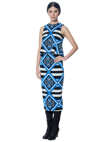 Mara Hoffman Pencil Skirt Keeper Blue Jacquard