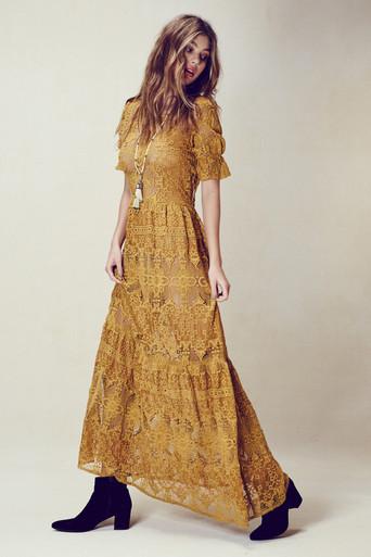 For Love and Lemons Sienna Maxi Dress Goldenrod
