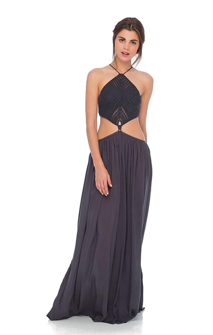 d25856df69 Indah Revel Crochet Top Maxi Dress Solid Black