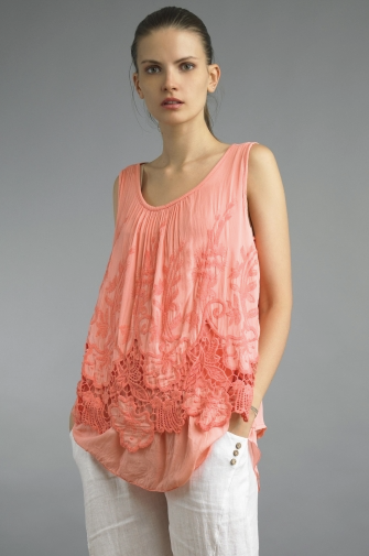 Tempo Paris 2562JL Sleeveless Two Tier Top Coral