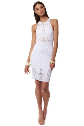 Mara Hoffman Fitted Midi Dress Floral Jacquard White