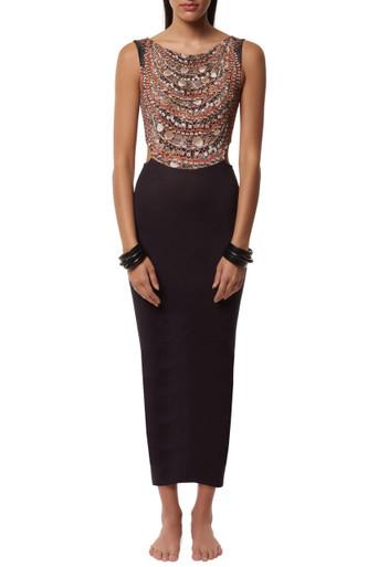 Mara Hoffman Scoop Back Midi Dress Necklaces Print
