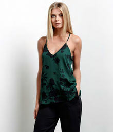 Karina Grimaldi Taylor Print Cami Green Rose