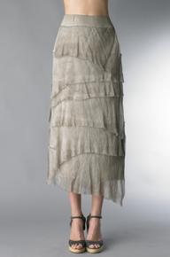 Tempo Paris 6582SO Silk Angled Tiered Skirt Taupe