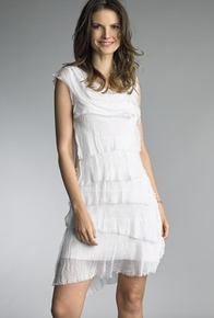 Tempo Paris 6206JL Silk Tiered Dress White