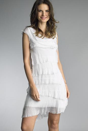 Tempo Paris 6206JL Silk Tiered Dress White