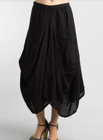 Tempo Paris Linen Skirt 712LA Black