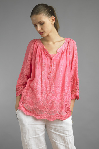 Tempo Paris 1104TJL Embroidered Blouse Coral