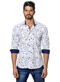 Jared Lang Button Down Shirt C-06 White Cars