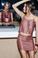 MLV Shannon Rectangle Bead Mini Skirt Marsala