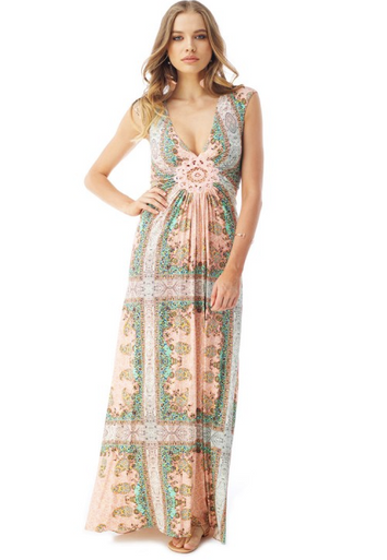 Sky Poncia Cap Sleeve Maxi Dress Blush Print