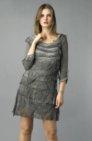 Tempo Paris Silk Tiered Dress 9713MON Gray