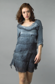Tempo Paris Silk Tiered Dress 9713MON Light Denim