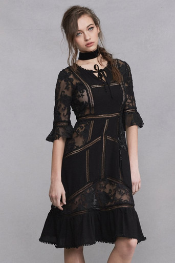 For Love and Lemons Ellery Midi Dress Black