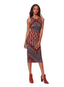 Mara Hoffman Rug Ponte Sleeveless Midi Dress Orange Multi