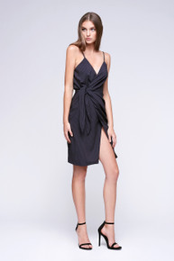 Stylestalker Odysseus Midi Dress Charcoal Stripe