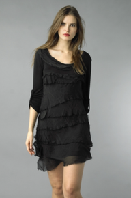 Tempo Paris Silk Tiered Dress 9713MON Black