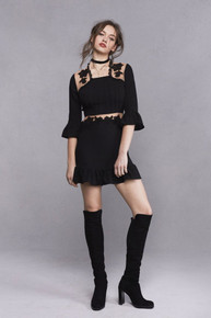 For Love and Lemons Lilou Applique Dress Black