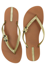 Ipanema Star Flip Flop Brown with Gold