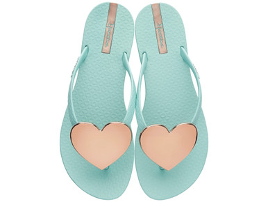 2017 Ipanema Wave Heart Flip Flop Mint with Rose Gold