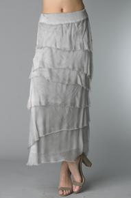 Tempo Paris 6582SO Silk Angled Tiered Skirt Silver