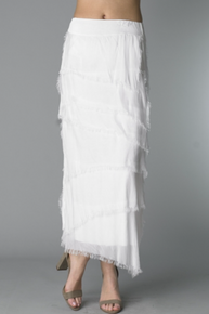 Tempo Paris 6582SO Silk Angled Tiered Skirt White
