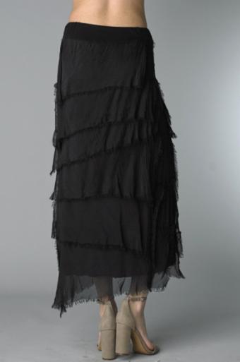 Tempo Paris 6582SO Silk Angled Tiered Skirt Black