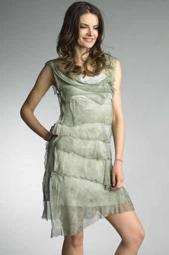 Tempo Paris 6206JL Silk Tiered Dress Sage