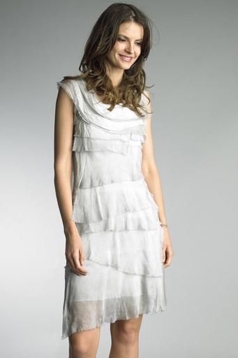 Tempo Paris 6206JL Silk Tiered Dress Silver
