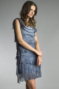 Tempo Paris 6206JL Silk Tiered Dress Navy Pigment