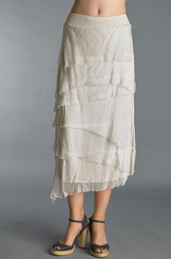 Tempo Paris 6582SO Silk Angled Tiered Skirt Beige
