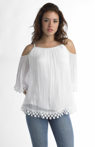 Tempo Paris Silk Cold Shoulder Top 5184 White